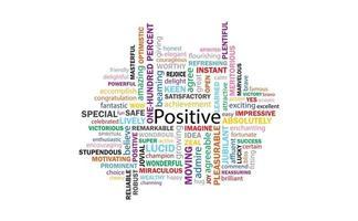 positivt tänkande 99 ord för kommunikation och bekräftelse. vektor