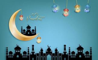 Goldmond mit eid mubarak Gruß ramadan kareem Vektor, der für islamisches Festival für Plakat auf Himmel bule Hintergrund wünscht vektor