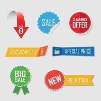 Sammlung von Verkauf Etikett Aufkleber Design. Vektorillustration vektor