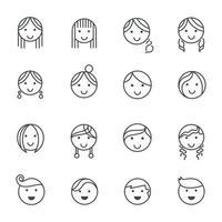 frisyrer känslor linje ikoner. vektor illustration