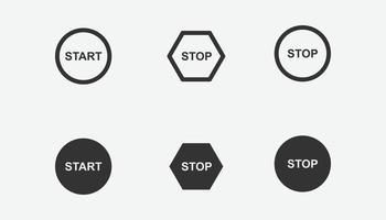 uppsättning start- och stoppikoner för grafik, webbplats och mobil design vektor