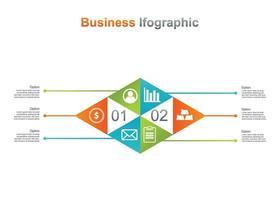 affärsmall infograpic. 6 alternativ infographic vektorillustration. perfekt för marknadsföring, marknadsföring, presentationsdesignelement vektor