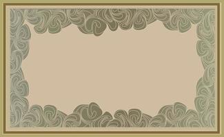 Retro-Hintergrund mit Kopierraum für Rahmen. Wirbel Linien Dekor im Art-Deco-Stil. Blumenmotiv Dekor Element Tapete. vektor
