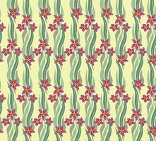 nahtloses Blumenmuster mit Blättern und Blüten. künstlerisch gezeichneter Blumenhintergrund im Stil Retro Dekor. gedeihen Ziergarten Textur mit Blättern vektor