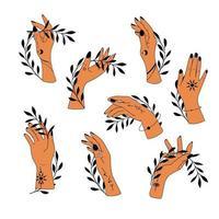 Sammlung von handgezeichneten magischen astrologischen Handsymbolen vektor