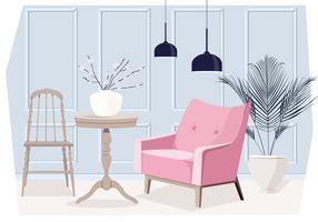 Vektor-Wohnzimmer-Innenraum-Illustration