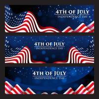 4. Juli Banner mit realistischer amerikanischer Flagge vektor