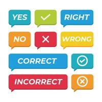 Richtige und falsche Sprechchat-Tasten vektor