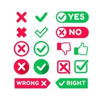 Richtiges und falsches flaches Zeichen vektor