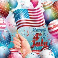 Glücklicher 4. Juli mit fliegender amerikanischer Flagge vektor
