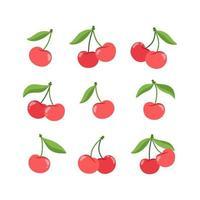 Sammlung von roten Kirschen mit grünen Blättern im flachen Stil vektor