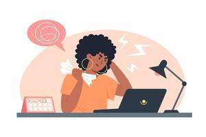 junge Arbeitnehmerin unter Stress bei der Arbeit, Problem bei der Lösung von Aufgaben vektor