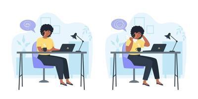 produktiver Mitarbeiter und verwirrter verärgerter Mitarbeiter, Produktivität und Problemlösung im Laufe des Tages vektor