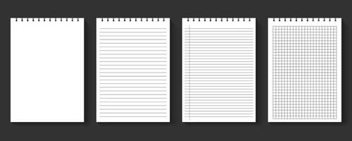 leere Notebook-Papierblätter gesetzt vektor