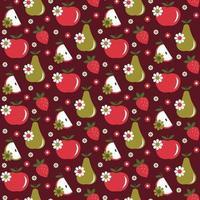 nahtloses Muster der Apfelbirnenerdbeer-Gänseblümchen-Retro auf dunkelrotem Hintergrund vektor