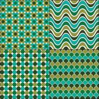 blågröna retro mod sömmar mönster vektor