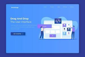 Drag & Drop-Zielseitenkonzept für den Website-Builder vektor