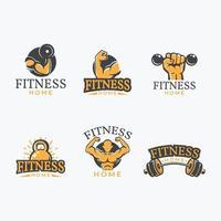 uppsättning gym hemma logotyp vektor