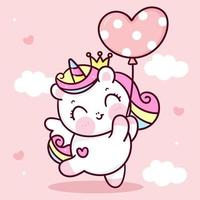 niedlicher Einhornvektorprinzessin-Pegasus, der Herzballonpastellhimmel mit süßem Wolkenponykarikatur kawaii Tierenhintergrund-Valentinstaggeschenk hält vektor