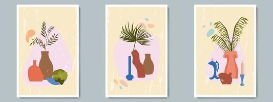 Hand zeichnen Keramikvase mit tropischen Pflanzen und abstrakter Form gesetzt. trendige Collage zur Dekoration am Grunge-Hintergrund vektor