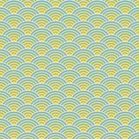 nahtloser Musterhintergrund der Fischschuppe. Überlappende sich wiederholende Kreise erzeugen Wellenhintergrund. abstraktes Gestaltungselement. blaue und gelbe Vektorillustration. vektor