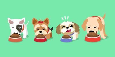 niedliche glückliche Hunde der Vektorkarikatur mit Futternäpfen vektor