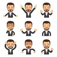 tecknad uppsättning affärsman ansikten visar olika känslor vektor