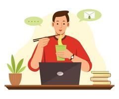 Der freiberufliche Mann arbeitet online von zu Hause aus mit einem Laptop und isst Nudeln. vektor
