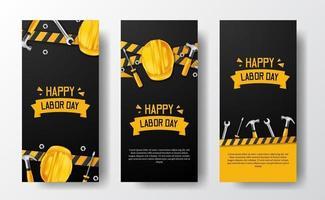 sociala medier berättelser banner för arbetsdagen med 3d skyddshjälmarbetare, hammare, skiftnyckel, med gul linje och svart bakgrund vektor