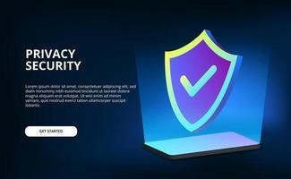 3D-Schutz der Privatsphäre Datenschutz für Telefon Computer Internet-Technologie Cyber mit dunklem Hintergrund vektor