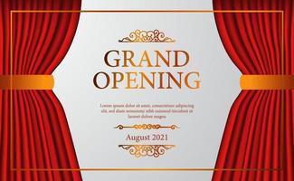 Öffnen Sie die elegante Eröffnung des Bühnentheaters des roten Vorhang-Bühnentheaters mit der goldenen Konfetti-Plakatfahnenschablone vektor