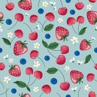 Früchte nahtloses Muster. Erdbeere, Kirsche und Blüte. romantischer Weinlesehintergrund. Vektor