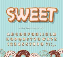 süße Keksschrift. Cartoon Hand gezeichnetes Alphabet. glasierte bunte Buchstaben und Zahlen. Vektor