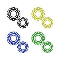 Zahnradsymbol auf weißem Hintergrund vektor