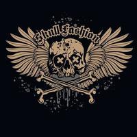 Gothic-Zeichen mit Totenkopf und Flügeln, Grunge-Vintage-Design-T-Shirts vektor