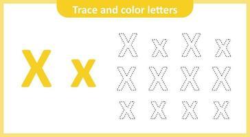 Verfolge und färbe die Buchstaben x vektor