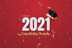 Abschlussbanner der Klasse 2021 mit Ballonnummer, Konfetti, Diplom und Abschlusskappe. vektor