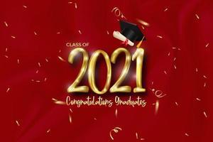 Abschlussbanner der Klasse 2021 mit goldener Nummer, Konfetti, Diplom und Abschlusskappe. vektor