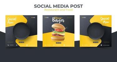 Marketingvorlage für Lebensmittel oder kulinarische soziale Medien. bearbeitbarer quadratischer Social-Media-Beitrag zur Werbung. Illustrationsvektor mit realistischem Burger und schwarzer Platte. vektor
