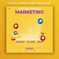 bearbeitbare Social-Media-Post-Vorlage. 3D-Marketing-Bannerwerbung mit Symbol Social Media und realistischem Smartphone. vektor