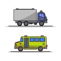 LKW- und Schulbusikone auf weißem Hintergrund vektor