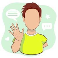junger Mann, der Handgruß winkt oder auf hellgrünem Hintergrund auf Wiedersehen sagt. männliche Zeichentrickfigur mit einladender Geste in der Vektorillustration. vektor