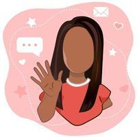 junges Mädchen, das Handgruß winkt oder auf Korallenhintergrund auf Wiedersehen sagt. weibliche Zeichentrickfigur mit einladender Geste in der Vektorillustration. vektor