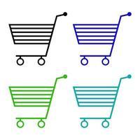 shopping cart ikon på vit bakgrund vektor