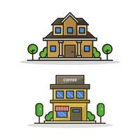 Haus- und Kaffeehausikone auf weißem Hintergrund vektor