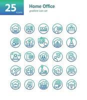 hemmakontor lutning ikonuppsättning. vektor