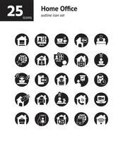 Home-Office-Solid-Icon-Set. vektor