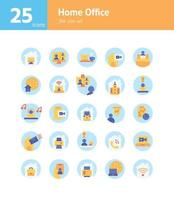 Home-Office-Flat-Icon-Set. vektor