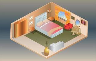 isometrische Schlafzimmerillustration vektor