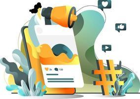 Mobile Marketing Flat Illustration Konzept von Frauen Werbung mit Mikrofonen, perfekt für Landing Pages, Vorlagen, UI, Web, mobile App, Poster, Banner, Flyer. Vektor